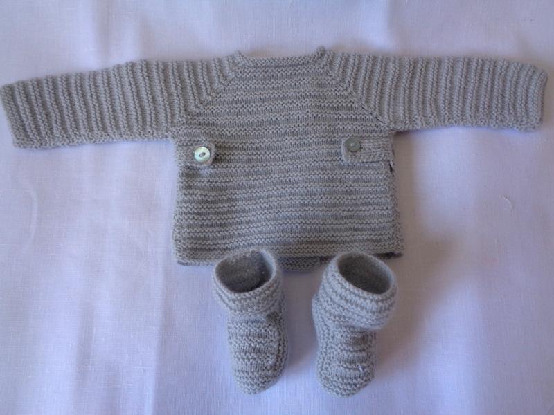 Jersey de lana gris hecho a mano a coser y punto - Patrones jerseys de punto hechos a mano ...