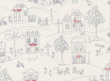 Tela casitas patchwork para productos infantiles