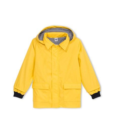 chubasquero de niño de petit bateau amarillo con forro marinero de rayas azul
