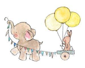lamina decorativa cuarto bebe elefante carro