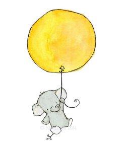 lamina decorativa cuarto bebe elefante globo
