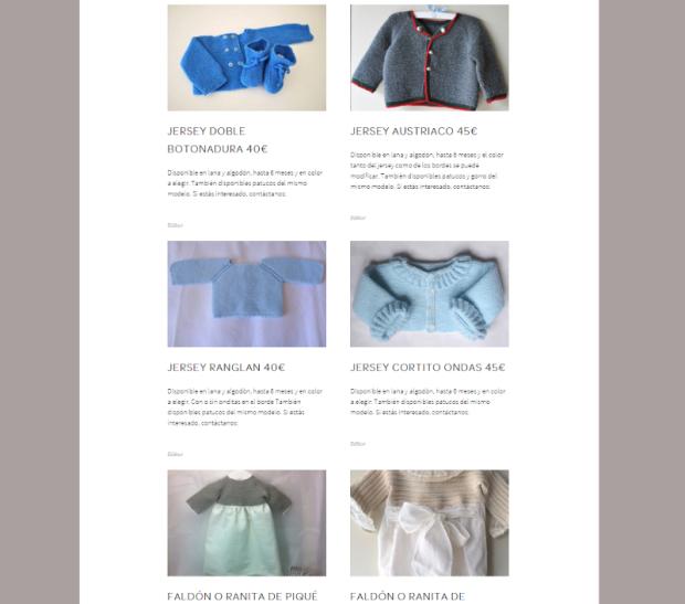 presentación de nuestros productos a mano a medida por encargo para bebes